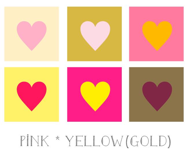 ピンクと黄色