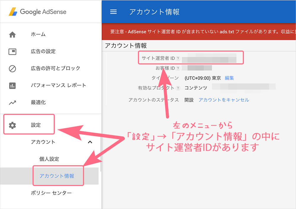 AdSenseサイト運営者ID